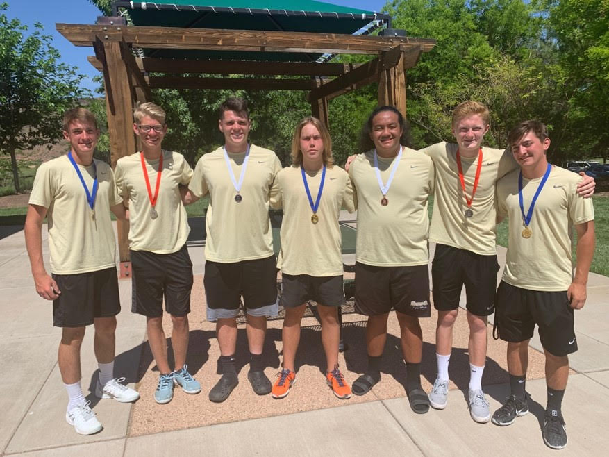 Seven Boys Tennis Players with Medals